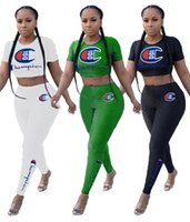 Champions women fashion sport suit Gym two piece set tight t...