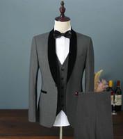 새로운 인기있는 원 버튼 짙은 회색 신랑 턱시도 어깨 걸이 옷깃 남자 웨딩 파티 신랑 들러리 3 벌 정장 (자켓 + 바지 + 조끼 + 넥타이) K100