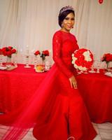2020 Nouvelle élégante rouge sirène robes de soirée en dentelle Jewel manches longues avec jupe amovible Robes de soirée Robes spéciales Occasin
