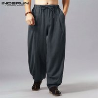INCERUN 2019 Mens Vintage Pants Chinese Style Cotton Loose C...