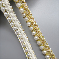 1 Yard Pearl Beads Golden Thread Bordo in pizzo Trim Ribbon Wedding Dress Nuziale Passamanerie Forniture per cucire Craft DIY Vestiti Borsa Scarpe Decor