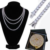 Bling Or blanc Or 18K CZ Zircon Hip Hop Tennis Choker collier longue chaîne 4/6 mm diamant Glacé Miami Rapper Chaînes de bijoux