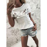 Frauen-Mode-Druck-T-Shirt der Frauen Schreiben Top Sommer Kurzarm-Shirt Mode-T-Shirt aus Baumwolle T-Shirts Damen-T-Stück