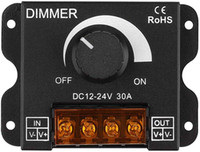 LED Light Strip Dimmer, DC 12V-24V 30A PWM per dimming manopola Dimmer Regola luminosità interruttore on / off con alloggiamento in alluminio