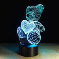 Рождественский милый маленький медведь 3D ночной светильник индукционные светодиодные фонари творческий умный дом USB стол сенсорные лампы