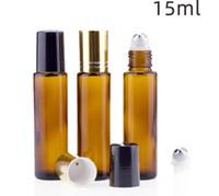 Янтарный стекла Ролл на бутылки 15мл Эфирное масло бутылки из нержавеющей стали роллер Empty Perfume Cotainer SN938