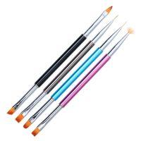 Commercio all'ingrosso 4 Pz Dual-ended Nail Art Gel UV Spazzole, Penne Pennello per Unghie Set Fodera Pittura Piatto Disegno Builder Manicure Strumenti G0328