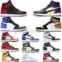Alta qualità 1 alta OG giallo Toe Banned Shadow Bred Toe scarpe da basket uomini 1S Top 3 Chicago Shattered Backboard argento medaglie sneakers