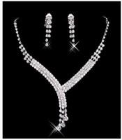 여성 댄스 파티 저녁 무료 선박에 대한 증권 저렴한 빛나게 라인 석 웨딩 파티 귀걸이 팔찌 목걸이 반지 보석 세트에서 뜨거운 판매