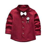 Cute Boys Gentleman Bow Shirts Tees Vintage Borgogna Colore Classic Fashion Holiday Party Top Western Spring Autumn Blouse