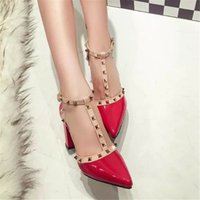 Designer Dress Shoes Sexy Hasp Rivet heels Female leather hi...