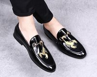 New Design Scorpion print men leather shoes Men Business Loa...