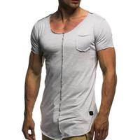 Summer Long T Shirt Homens de manga curta de Fitness T -Shirt Moda Sólidos Slim Fit O Neck T-shirt Men 'S Hip Hop Streetwear solto