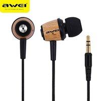 AWEI Q9 Wired auricolari In Ear Fone de ouvido legno Bass auricolare stereo Cuffie Audifonos Nylon auricolare a filo tessuto