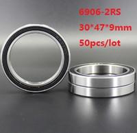 50PCS / الكثير 6906RS 6906-2RS 6906 RS 2RS اضعا الكرة 30 * 47 * 9MM قسم رقيقة من المطاط تغطية الاخدود العميق اضعا الكرة 30x47x9mm