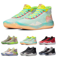 2020 Hommes Chaussures de basket-ball KD 12 11 90 EYBL Guerriers enfants Accueil loup gris Uuiversity finales Red Kevin Durant 12s Sport Baskets Sneakers 7-12