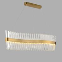 2021 Design de vague Longue cristal LED Lampe AC110V 220V Lustre Cristal Kronleuchter Home Lighting Bar Light