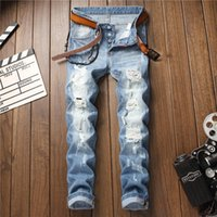 Men Designer Jeans Patches Mode Trou Washed Broderie Blanchi Blanc Distrressed Zipper Fly Pantalon droit Denim Taille 28-34
