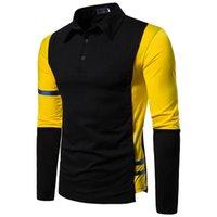 Männer Polos Solide Farbstichknopf Slim Fit T-Shirt Abzugskragen Langarm Top Business Casual Bluse Revers Hemd # BL4