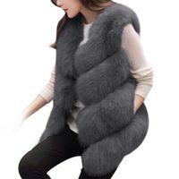 Winter 2018 Women Fur Vest Thick Warm Faux  High Quality Fashion O-Neck Short Fur Coat Women Jacket Outwear Femme 3XL
