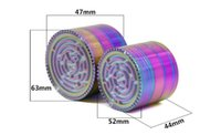 63mm 52mm Aluminium Maze Spiel Rainbow Grinder Iceblue Metalltabakmühlen für trockene Kraut rauchen