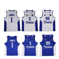Hombres Lituania Prienu Vytautas Camiseta de baloncesto LaMelo 1 Balón Jersey 3 LiAngelo Uniforme 99 LaVar Todo cosido Buen equipo Azul Blanco