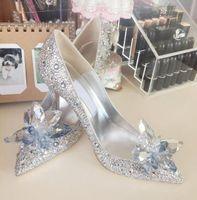 Nuove scarpe da sposa con strass da sposa Scarpe da sposa in cristallo fiori in argento puntini con tacco a spillo con tacco a spillo Stiletto Pompe da donna 5cm 7 cm 9cm