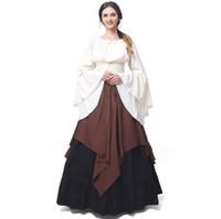 2018 średniowieczna tkanina olejowa długich maxi kobiety retro sukienka renesansowa sukienki europa gotycka wzburzyć spódnica wiktoriański