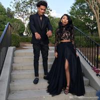 Neue schwarze lange Sleeve Prom Kleider 2019 formale Abendparty Pageant Kleider Afrikaner Zwei Stücke Kleid High Hals plus Größe Maßgeschneidert