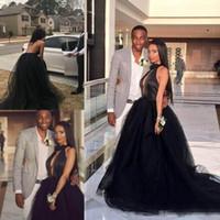 Heiße charmante Black Ballkleid Prom Kleider 2020 Neue Juwel Tüll Satin Chapel Zug Formale Party Abendkleider Prom Kleider Q27
