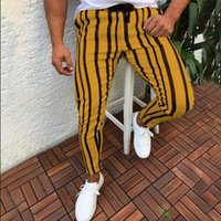 Men Casual Striped Long Jogger Pants Mens Harem Fitness Jogg...