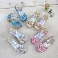 4 colores nieve reina princesa sandalias de cuero bebé niños niñas tacones altos zapatos cristal bailando sandalias niños arco-nudo zapatos C2295-1