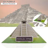 마야 피라미드 건물 3D 퍼즐 장난감 DIY 조립 판지 모델 교육 장난감 데스크탑 홈 장식