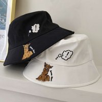 Fisherman hat female cartoon embroidery show face small wide...