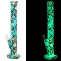 Silicone Bong Wholesale 14 '' Luminous Glow in Dark Smoking avec un bol en verre Domestem ou un banger En Stock