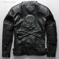 Fall- Fashion Men' s motorcycle jacket with skulls black ...