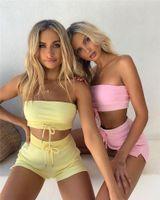 2020 vestiti estivi del club del club per donna Sexy Sexy Two Piece Set Donne Donne Tube Cropped Tube Top e Shorts Matching Set