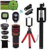 Macro lentes de gran angular 15 en 1 teléfono con cámara kit con objetivo 12X de zoom telefoto Lentes Telescopio ojo de pez para el iPhone Smartphone