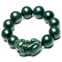Joyería fina Xinjiang y tallados a mano los granos del jade de Tian Pixiu envío libre de la pulsera del dragón chino