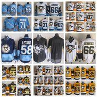 Moda Retro Pittsburgh Penguins Jersey 68 Jaromir Jaromir 35 Tom Barrasso 77 Paul Coffey Ron Francis Mens Vintage CCM Stitched Hockey Jerseys