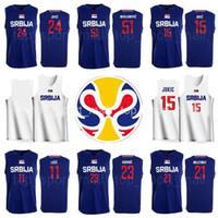 2019 equipe da Copa do Mundo Srbija Jersey Basquete Sérvia 21 Nikola Milutinov 23 Marko Gudúrico 22 Vasilije Micic Vladimir Lucic Raduljica Bircevic