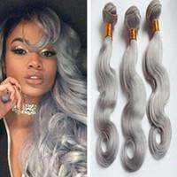 Grey indiana capelli umani del Virgin delle trame corpo onda ondulato grigio argento Virgin tessuto dei capelli Bundles 9A