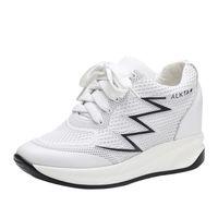 Sıcak Satış-sığır derisi artan yazlık ayakkabı spor ayakkabı kadınlar 6cm kız makosenler 33-41 arttırın örgü
