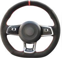 2015-2019 Jetta GLI Golf R Golf 7 MK7 Golf GTI Aksesuar Siyah Hakiki Deri Süet Direksiyon Kapakları
