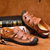 summer 2020 new leather fashion sandals mens shoes large siz...