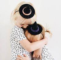 새로운 유럽 아기 소녀 귀여운 마녀 모자 머리띠 어린이 장식 조각 Bowknot 뾰족한 모자 헤어 밴드 어린이 반다나 탄성 헤드 밴드 A514