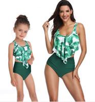 2019 Femmes Kids Bikinis Ensemble de maillot de bain Split Bikini à taille haute imprimée pour femmes avec des volants pour les parents et enfants maillots de bain maillots de bain
