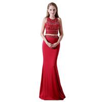 MA006 Exquisite Juwel Hals Rot Zwei Stück Ballkleider für Heimkehr Major Wulst Afrikaner Abendkleid Lange Spandex Masquerade Prom Kleid