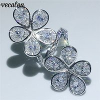 Vecalon Big Flower Ring 925 sterling silver Water Drop Diamo...