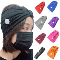 Face mask Button Headbands Solid color Sports Yoga Exercise ...
